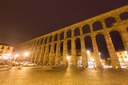 aqueduct: Roman Aqueduct in night. Segovia, Spain