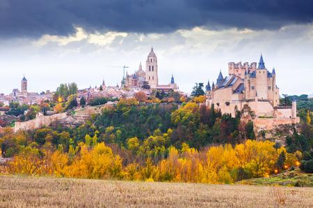castile and leon: Autumn day view of Castle of Segovia. Castile and Leon, Spain