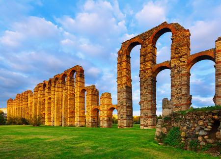 acueducto: antique  roman aqueduct in  evening lights. Merida, Spain