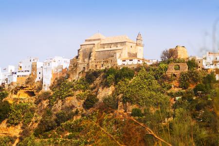 san agustin: View with church of San Agustin. Arcos de la Frontera, Spain Stock Photo