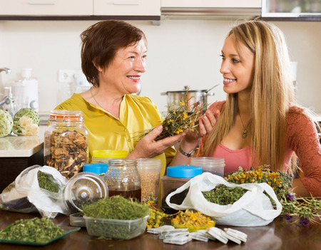 concoct: Womans  with medicinal herbs brewing herbal tea
