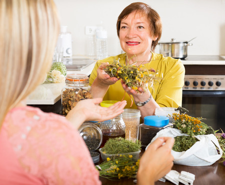 concoct: Elderly woman  and young girl  with medicinal herbs brewing herbal tea Stock Photo