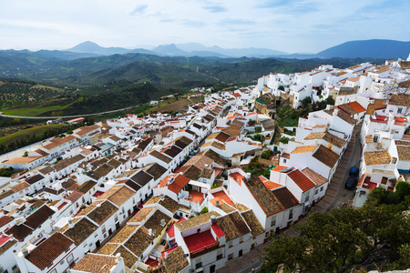 andalusian: Aerial view of residential districts in andalusian town.  Olvera,   Spain