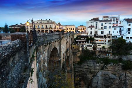 nuevo: Sunset view of Ronda with Puente Nuevo bridge. Andalucia, Spain Stock Photo