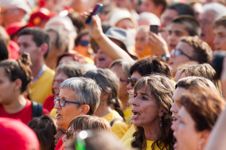 independency: BARCELONA, SPAIN - SEPTEMBER 11, 2014: People at rally demanding independence for Catalonia in 300th anniversary of loss of independence