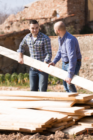 workplace wellness: Smiling workmen arranging building timber at farm Stock Photo