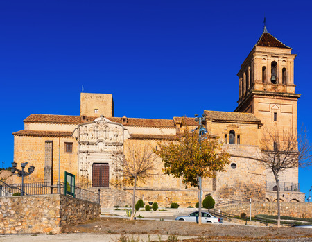 mayor: Sunny view of Santa Maria la Mayor in  Alcaudete. Province of Jaen, Spain