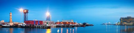 dockyard: evening panorama of Port Vell. Barcelona