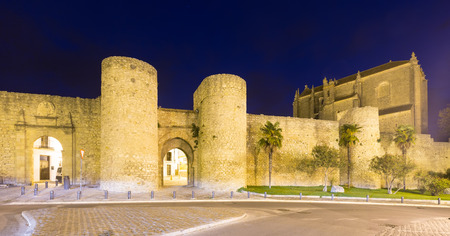 evening church: Evening view of  citywall and Church of the Holy Spirit. Ronda, Spain