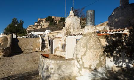 chinchilla: Dwelling  houses into rocks.  Chinchilla de Monte-Aragon, Albacete, Spain