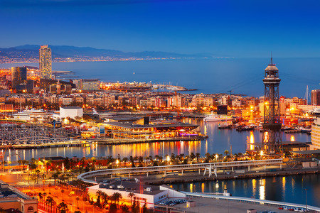 columb: Barcelona city and Port in night.  Spain Stock Photo