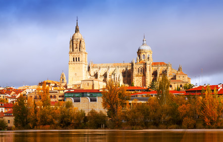 castile: Salamanca Cathedral from  River  in autumn. Castile and Leon, Spain Editorial
