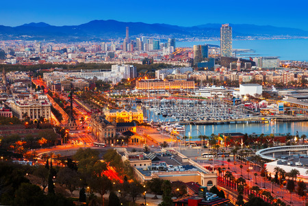 Top view of Port Vell in Barcelona during sunset. Catalonia, Spain