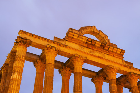 diana: Closeup of ancient temple of Diana in early morning time. Merida, Spain Stock Photo
