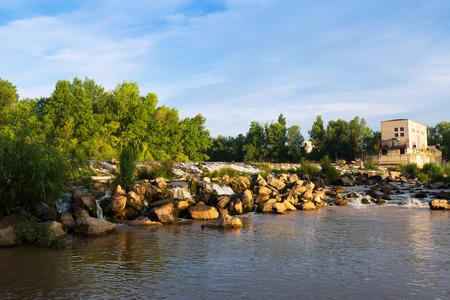 hydropower plants: dam across Ebro river in Logrono. La Rioja, Spain Stock Photo