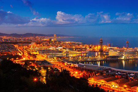 columb: Port Vell and cityspace of Barcelona in evening. Catalonia, Spain