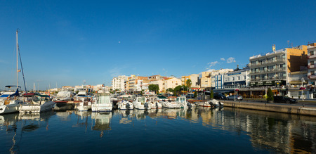 ebre: LAMPOLLA, SPAIN - AUGUST 13, 2014: Boats at typical mediterranean town. LAmpolla