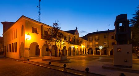 cityhall: Town square at  spanish town in night.  Utrillas, Teruel, Spain Stock Photo