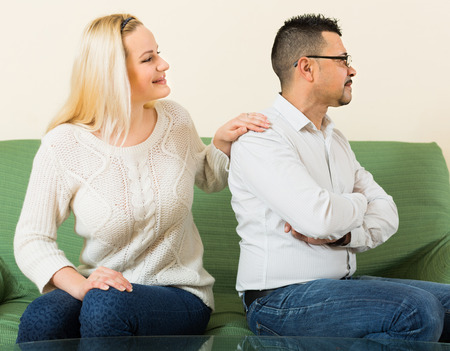 fracas: Loving young wife trying to reconcile with man after conflict at home