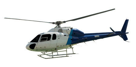 Travel helicopter with working propeller, isolated on white