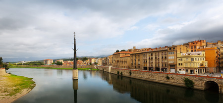 ebre: Day view of Ebre river in Tortosa. Monument to  Battle of the Ebro at river