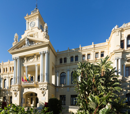cityspace: City hall of Malaga in sunny day. Andalusia,  Spain