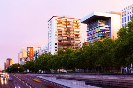 paseo: Paseo de la Castellana in dusk time.  Madrid, Spain
