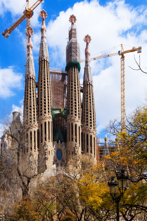 catalunia: View of Sagrada Familia by Catalan architect Antoni Gaudi. Barcelona