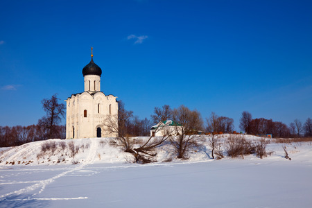 nerl river: Church of the Intercession on the River Nerl (build in 1158) in winter. Russia