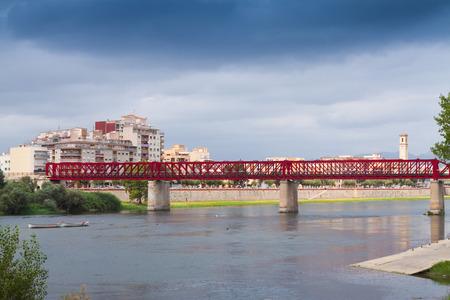 ebre: View of Ebre river with Ferrocarril bridge. Tortosa, Spain