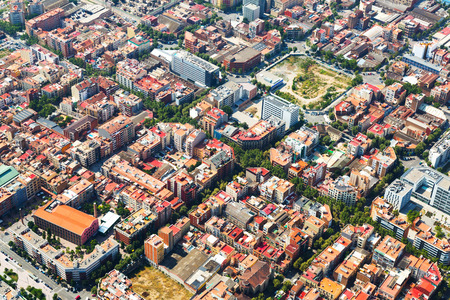 residential district: Aerial view of  residential district. Barcelona, Catalonia