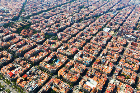 Aerial view of typical buildings at Eixample residential district. Barcelona, Catalonia