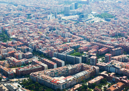 residential district: Aerial view of  Sants residential district from helicopter. Barcelona, Catalonia Stock Photo