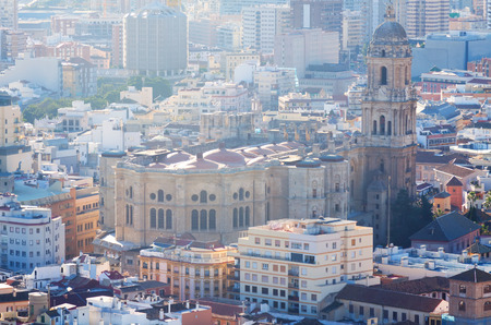 cityspace: View of Malaga Cathedral and cityspace from castle