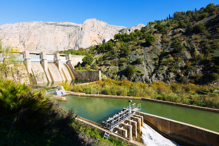 environmental: Day view of dam at Chorro river.  Andalusia, Spain Stock Photo