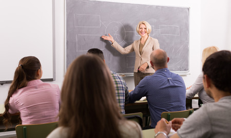 attentive: Group of attentive adult students with smiling female teacher in classroom