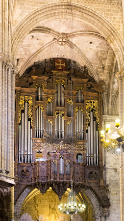 choral: Organ with pipes at The Cathedral of the Holy Cross and Saint Eulalia, Barcelona