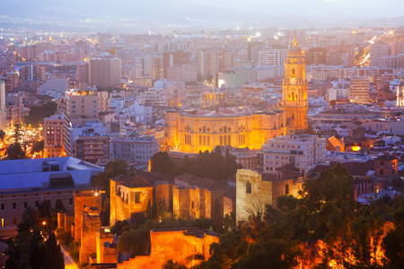 cityspace: Cathedral and cityspace from castle in night. Malaga, Spain Editorial
