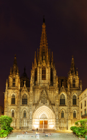 barcelona cathedral: Night view of Barcelona Cathedral at Barrio Gotico. Barcelona, Spain Stock Photo