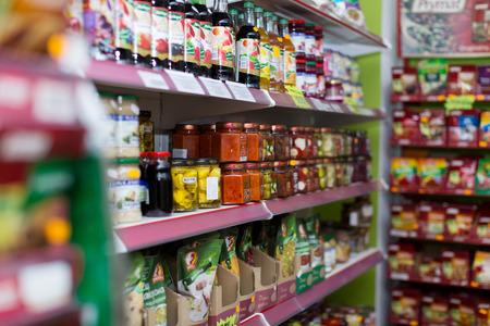 BARCELONA, SPAIN - MARCH 22, 2015: Shelves at groceries section of average Polish supermarket in Barcelona.