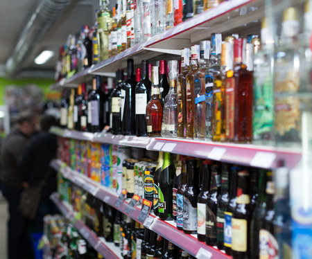 soft sell: BARCELONA, SPAIN - MARCH 22, 2015: Shelves  at beverage section of average Polish supermarket in Barcelona. Editorial