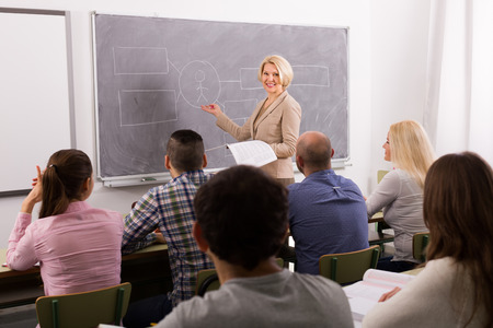 Gruppe von aufmerksamen erwachsene Studenten mit Lehrer im Klassenzimmer