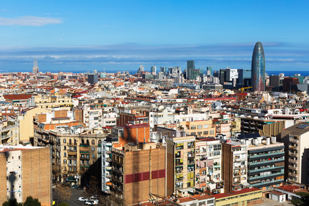 residential district: Aerial view of  residential  district. Barcelona, Spain
