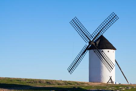 mancha: windmill in field. La Mancha, Spain