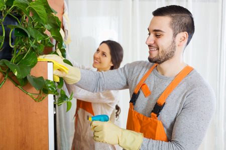 residential homes: Cleaning premises team is ready to work Stock Photo