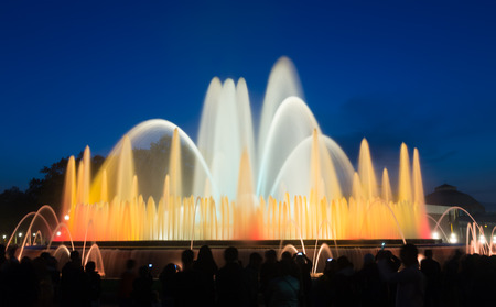 Evening view at colorful vocal Montjuic fountain in Barcelona. Spain photo