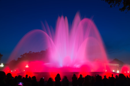 Evening view at colorful vocal Montjuic fountain in Barcelona. Catalonia