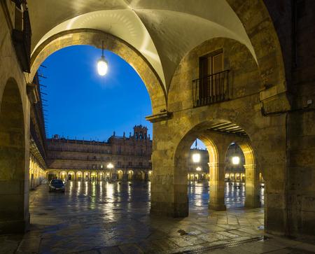 salamanca: arches at Plaza Mayor  in evening. Salamanca, Spain