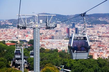montjuic: BARCELONA, SPAIN - JUNE 21, 2014: Teleferic de Montjuic in Barcelona, Spain. Teleferic de Montjuic connects Montjuic Castle and Montjuic funicular