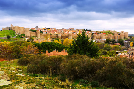 avila: view of Avila with  town walls in autumn. Spain